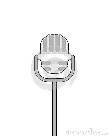 Retro microphone on white background. Accessory for lead perform