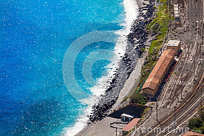 Railway station of Giardini Naxos and the Mediterranean Sea. Aerial view.