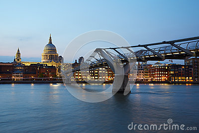 St Paul's Cathedral and Millennium bridge in London at night