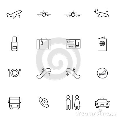 Airport icon sets, Line icons.
