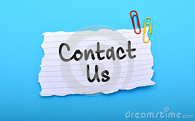 Contact us hand written on paper with blue background