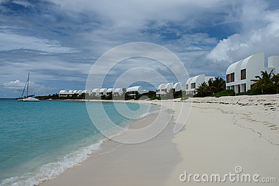 Covecastles resort villas on white sand beach and ocean, Shoal Bay West, Anguilla, British West Indies, BWI, Caribbean