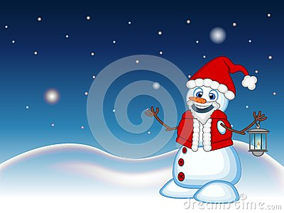 Snowman with a lantern and wearing a Santa Claus costume with star, sky and snow hill background for your design Vector Illustrati