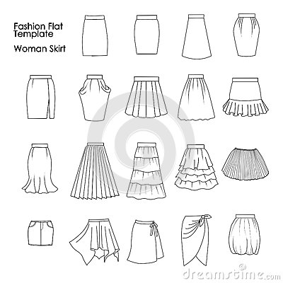 Set Of Fashion Flat Templates Sketches