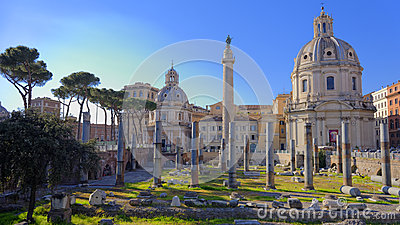 Ruins in Ancient Rome, Italy
