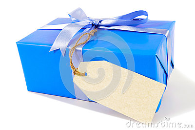 Small blue christmas or birthday present,  gift tag or blank manila label, isolated on white background