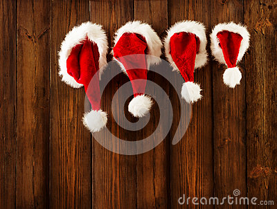 Christmas Family Santa Claus Hats Hanging on Wood Wall, Xmas Hat