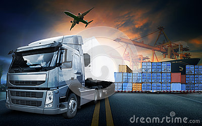 container truck ,ship in port and freight cargo plane in transport and import-export commercial logistic ,shipping business indus
