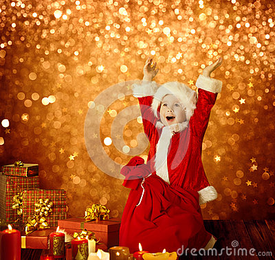 Christmas Kid, Happy Child Presents Gifts, Red Santa Bag, Boy Arms up