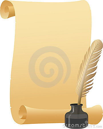Parchment Scroll Quill Pen/eps