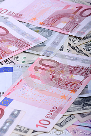 Euro currency banknotes. european and american money background