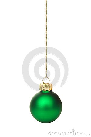 Hanging green Christmas ornament over white