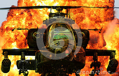 Military helicopter Apache explosion