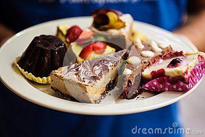 stock image of variety of raw vegan desserts