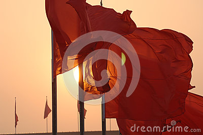 Flutter Red flag in Tiananmen Square during the National Day of China