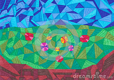 Geometric forms colorful background