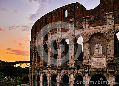 Sunset of Rome Colosseum