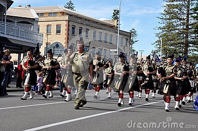 Anzac Day Parade of Bagpipers in Fremantle, Western Australia