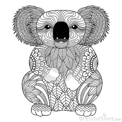 Drawing Zentangle Koala For Coloring Page Shirt Design Effect Logo
