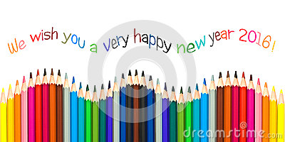 Happy new year 2016 greeting card , colorful pencils isolated on white