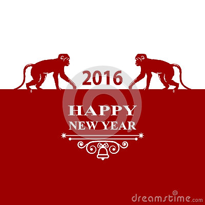Happy New Year holidays 2016 Decorations Card. Silhouette monkey on red white background. Greeting card, invitation, brochure, fly