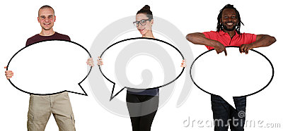 Happy people man woman holding empty speech bubbles with copyspace isolated