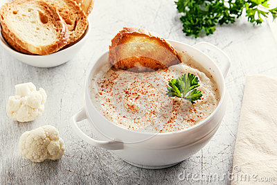 Soup puree with cauliflower and croutons