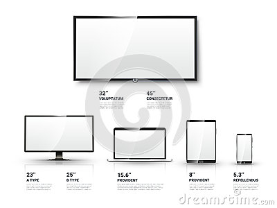 Realistic TV screen, Lcd monitor, laptop, tablet