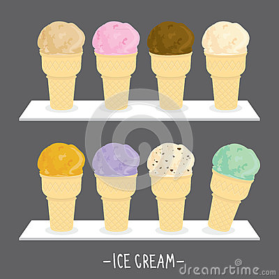 Ice cream menu cone scoop sweet flavour taste cartoon vector