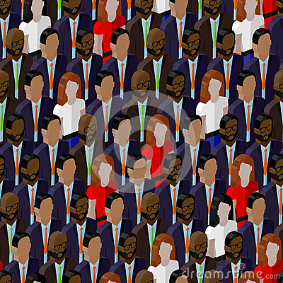 Vector seamless pattern with ladies and gentlemen. 3d isometric  illustration of business or politics community.