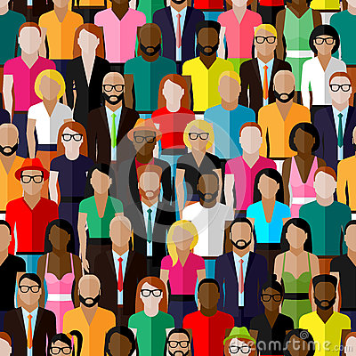 Vector seamless pattern with a large group of men and women. illustration of society members. population