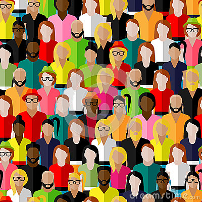 Seamless pattern with a large group of men and women.