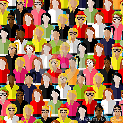 Seamless pattern with a large group of girls and women. flat illustration of female community.