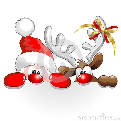 Christmas Santa and Reindeer Fun Cartoon