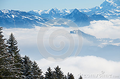 View to the Alps from the Pilatus mountain in Luzern, Switzerland.