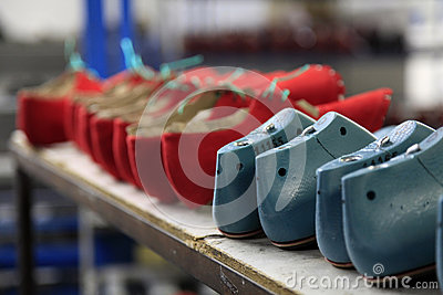 Production line in a footwear factory