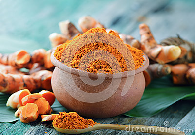 Turmeric powder in ceramic bowl
