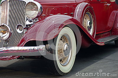 Old red Chrysler. Luxury car