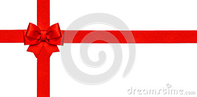 Red ribbon bow isolated on white. Gift card concept