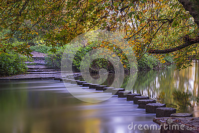 Stepping Stones over the river Mole, Surrey, UK