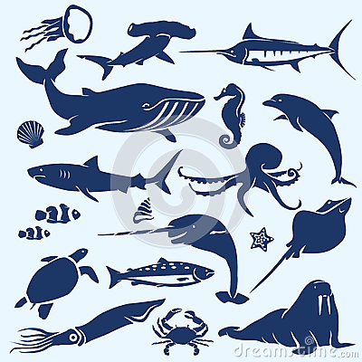 Sealife, sea and ocean animals and fish silhouettes
