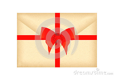 Letter envelope with red ribbon and bow isolated on white