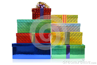 Small stack of Christmas gift boxes isolated on white background