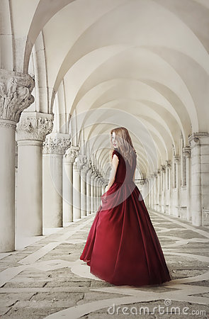 Woman in red dress near San Marco Square Venice