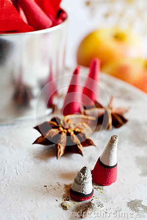 Czech christmas - smoking incense cones on star anise spice