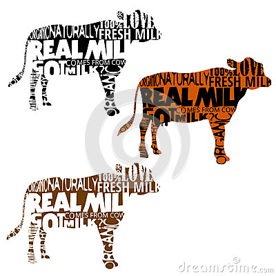 Set of cow silhouettes with words in shape
