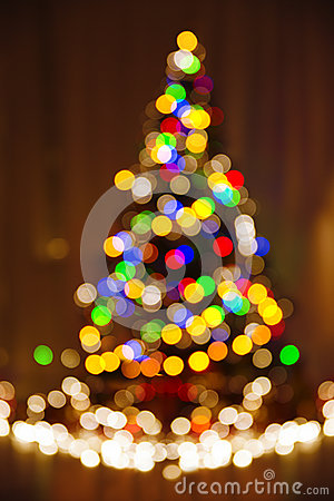 Christmas Defocused Lights, Xmas Tree, Blurred Holiday Abstract