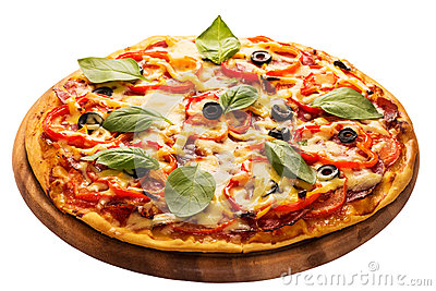 Pizza served on wooden plate isolated on white
