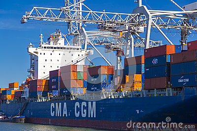 Large CMA CGM container vessel unloaded in Port of Rotterdam