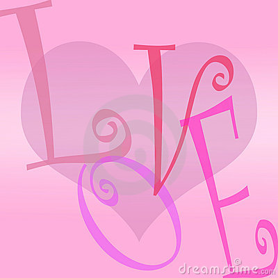 Love heart background letters
